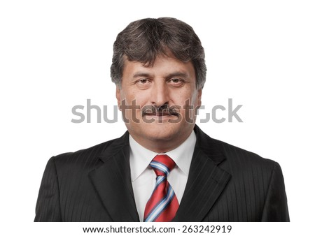 Mature business man standing isolated on white background - stock photo