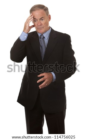 mature business man thinking on white background - stock photo
