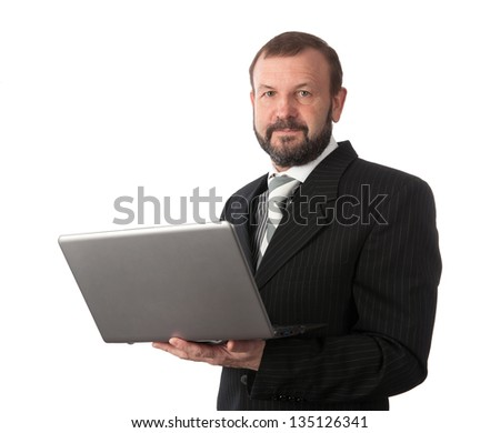 mature business man with laptop - stock photo