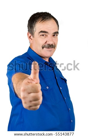 Mature business man with mustache giving thumbs up isolated on white background - stock photo