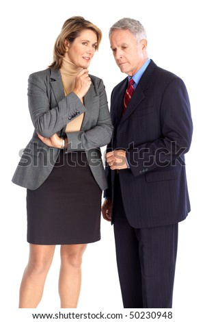 Mature business people. Isolated over white background