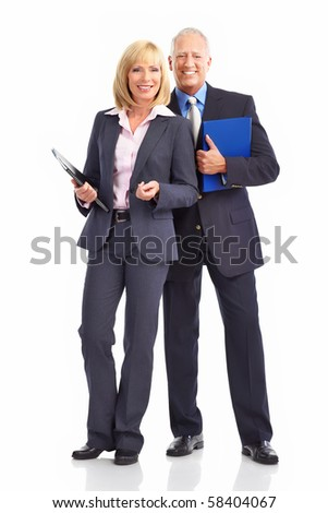 Mature business people. Isolated over white background - stock photo