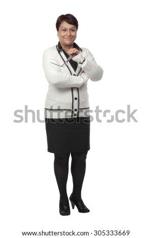 Mature Business woman isolated on white background - stock photo