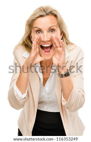 Mature business woman shouting isolated on white background - stock photo