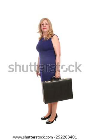 mature business woman with a briefcase isolated on white with room for your text - stock photo
