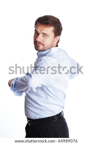 Mature businessman doing a workout isolated over white background - stock photo
