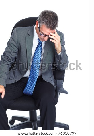 Mature businessman having stress. Isolated over white background - stock photo