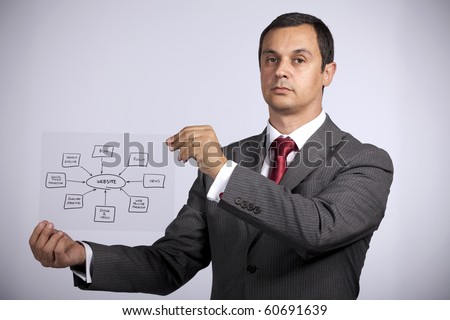 mature businessman holding a acetate with a website diagram solution - stock photo