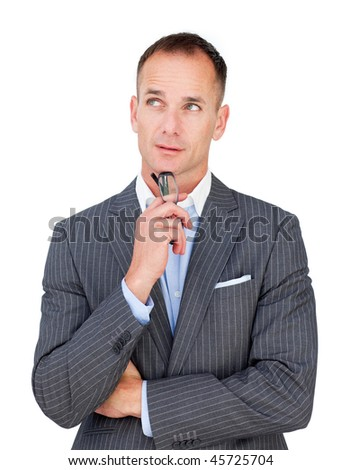 Mature businessman holding glasses looking upward