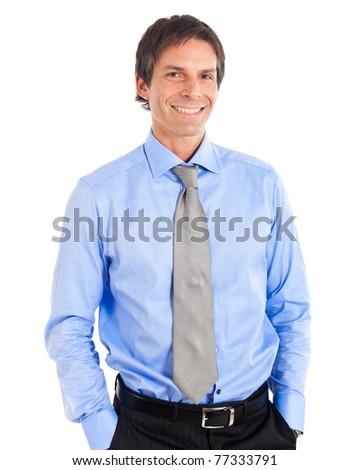 Mature businessman isolated on white - stock photo