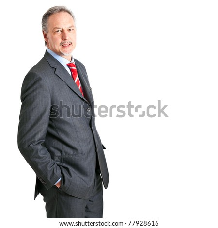 Mature businessman isolated on white - stock photo