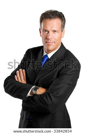 Mature businessman looking at camera with confidence isolated on white background - stock photo