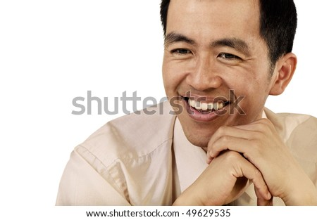 Mature businessman of Asian portrait with happy smiling expression on white background. - stock photo