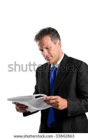 Mature businessman reading morning news with concentration isolated on white background - stock photo
