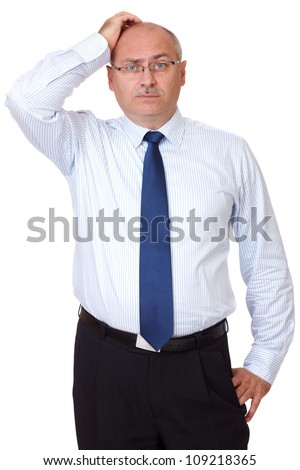 Mature businessman scratch his head, isolated on white - stock photo