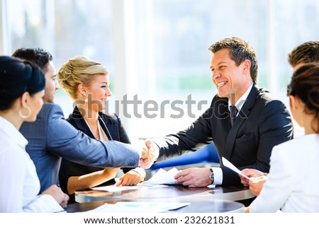 Mature businessman shaking hands to seal a deal with his partner and colleagues in a modern office - stock photo