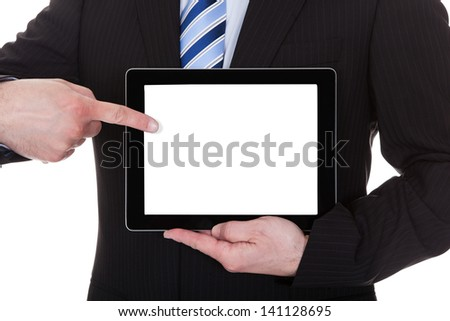 Mature Businessman Showing Digital Tablet Over White Background - stock photo