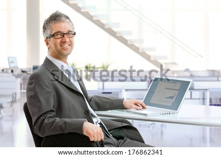 Mature businessman sitting at office desk using laptop computer, smiling. - stock photo