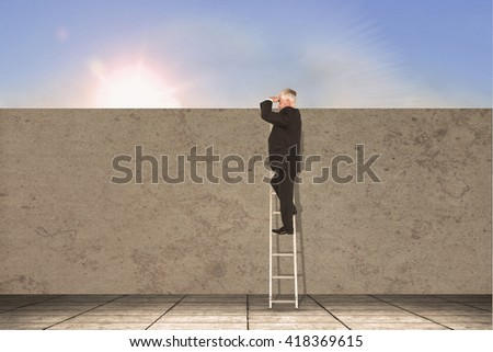 Mature businessman standing on ladder against blue sky with white clouds - stock photo