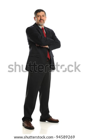Mature Businessman standing with crossed arms isolated on a white background - stock photo
