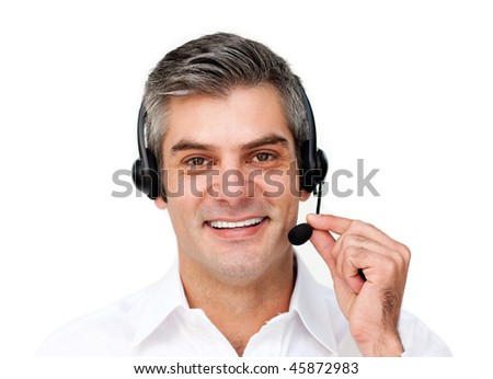 Mature businessman using headset isolated on a white background