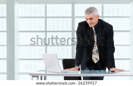 Mature businessman working on laptop computer at desk az office, smiling.