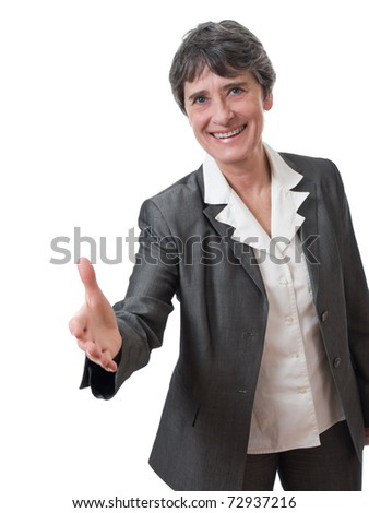 mature businesswoman handshake isolated on white background - stock photo