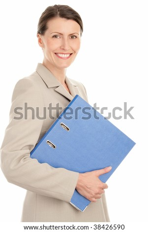 Mature businesswoman holding ring binder isolated on white background - stock photo