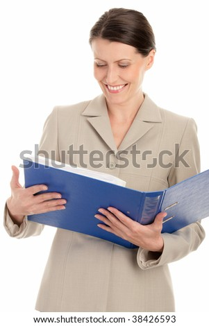 Mature businesswoman holding ring binder isolated on white background