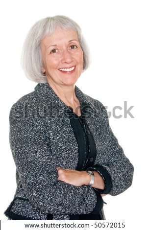 Mature businesswoman in black suit jacket - stock photo