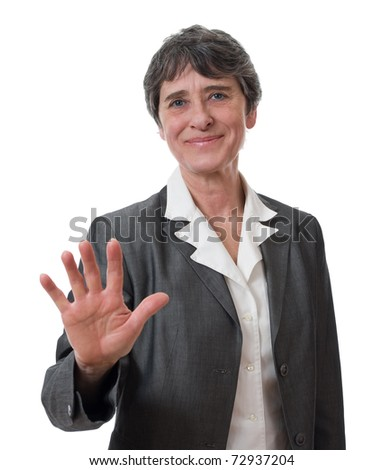 mature businesswoman refusing isolated on white background - stock photo