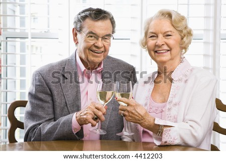 Mature Caucasian couple toasting wine glasses.