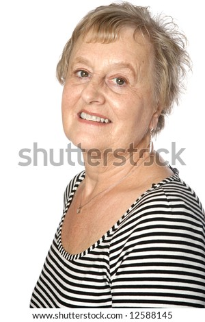 Mature caucasian female in stripy top and silver accessories
