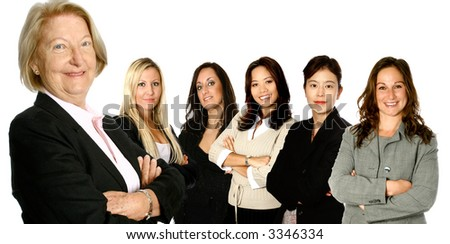 Mature caucasian  leading diverse business team from Japan, Asia and Europe, isolated on white.