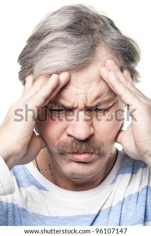 mature caucasian man having very strong pain isolated on white