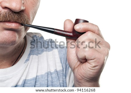 mature caucasian man holding smoking pipe in hand isolated on white background - stock photo