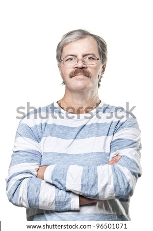 mature caucasian man in glasses isolated on white background - stock photo