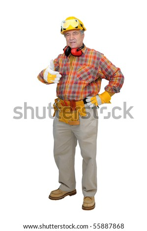 Mature construction worker isolated in white