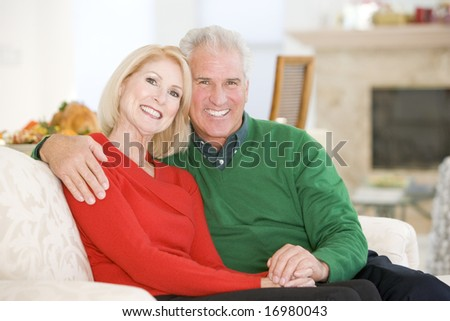 Mature Couple At Christmas - stock photo