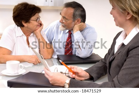 Mature couple by financial planner - stock photo