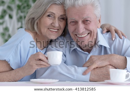 mature couple drinking tea