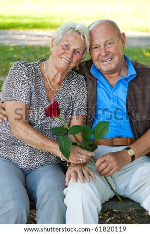 Mature couple in love senior citizens. Portraits of a married couple. - stock photo