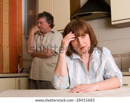 mature couple in quarrel - stock photo