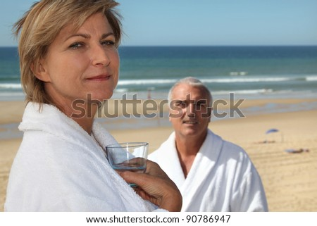mature couple in thalassotherapy resort - stock photo