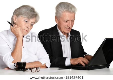 Mature couple in the workplace on a white background