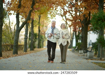 Mature couple walking in the autumn park - stock photo