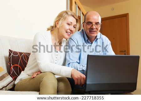 Mature couple with computer at table at home