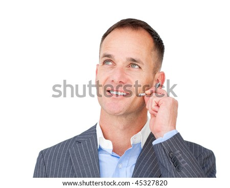 Mature Customer service agent talking on headset against a white background - stock photo