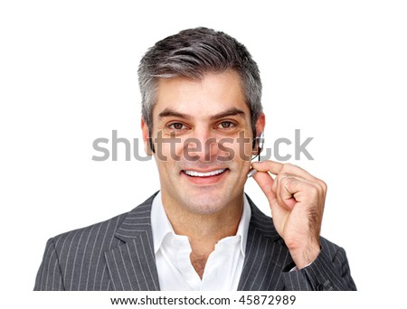 Mature customer service agent with headset on against a white background