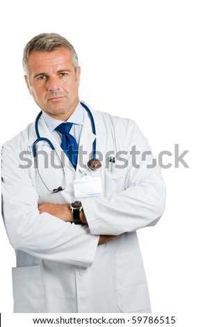 Mature doctor standing and leaning isolated on white background *Please note: the Doctor Label is made by myself with a personal design* - stock photo